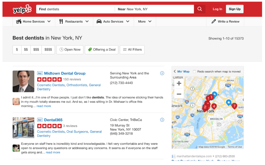 low-hanging fruit for advertisers on yelp